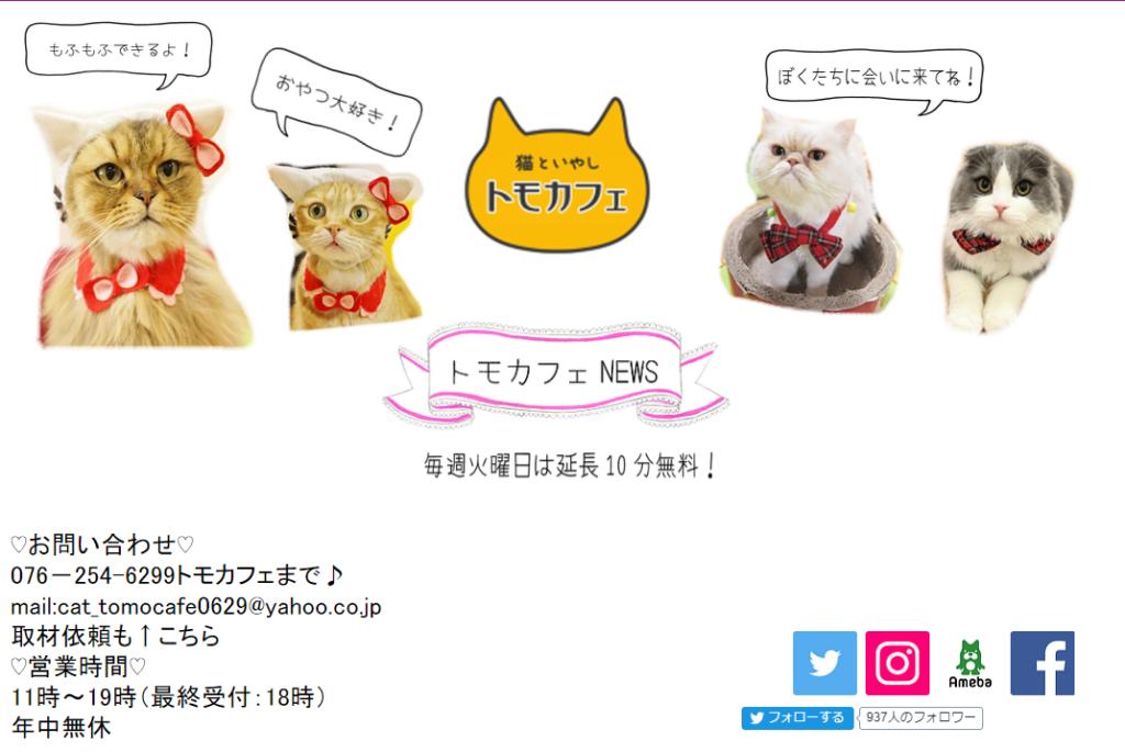 猫といやし トモカフェホームページ
