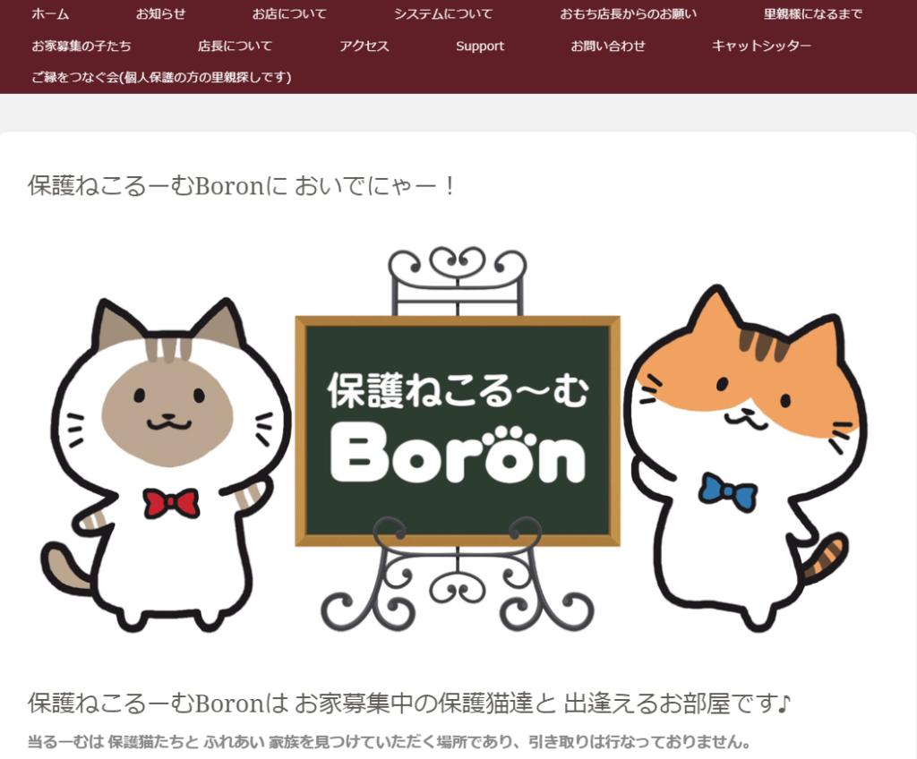保護ねこるーむBoron(ボロン)のホームページ