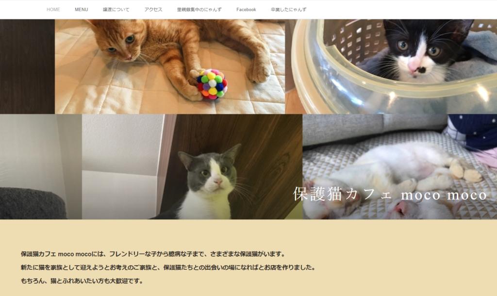保護猫カフェmocomocoのホームページ