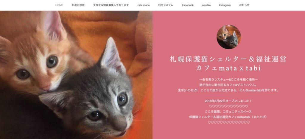 札幌保護猫シェルター&福祉運営カフェmata x tabiのホームページ