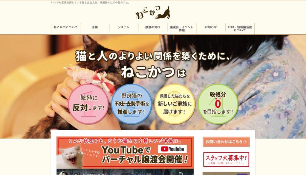 保護猫カフェ ねこかつホームページ